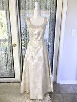 Vintage Size 4 / 6 Gunne Sax Jessica McClintock Wedding Dress Floral Gold White