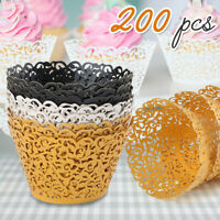 200x Lace Cupcake Wrapper Laser Baking Cup Liners Holder Muffin Case Trays Decor