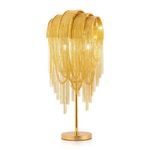 Modern Gold/Chrome Aluminum Chain Table Light Luxury Bedroom Beside Desk Lamps