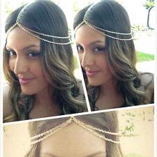 Bohemia Gold Kopf-kette Damenmode Metall Strassstein Schmuck Stirnband Haarband.