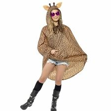 Giraffe Party Poncho Brown With Drawstring Bag Cost-uni