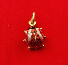 NEW 9ct Yellow Gold Lady bug Charm 375 Lucky Pendant 9K Red Enamel 9KT Free Post