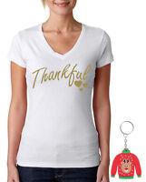Thankful WOMEN V-NECK Ugly Christmas T-Shirt Xmas + Gift