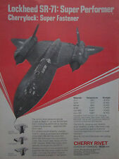 10/1975 PUB CHERRY RIVET SANTA ANA SR-71 BLACKBIRD USAF FASTENER ORIGINAL AD