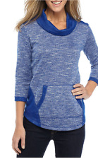 Ruby Rd. 3/4 Sleeve Cowl Neck Front Pocket Marled Knit Top XL Blue  MSRP $59.