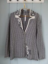 Oui Moments 14 Black White Floral Button Cardigan Wool Angora Sweater Zigzag