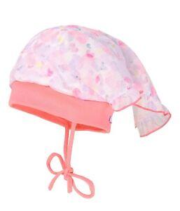 MaxiMo Kopftuchmütze Baby Mütze Kopftuch UV 50+ Herz Glitzer Gr. 45 47 49 NeU