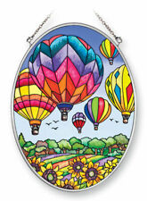 """Hot Air Balloons Sun Catcher Amia Oval 7"""" High Up and Away New Glass Sunflowers"""