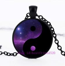 Cabochon Glass Chain Pendant Necklace Yin Yang Nebula Photo Tibet Silver