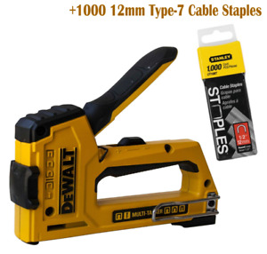 DEWALT Heavy Duty Nailer Tacker Staple Gun 18 Gauge Stapler +Round Cable Staples