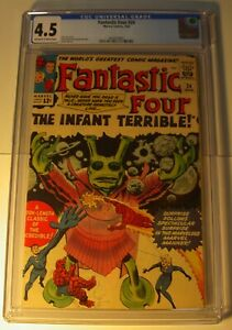 Fantastic Four #24 CGC 4.5 VG+ 1964, OW/W, Infant Terrible, Lee/Kirby