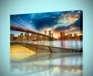 Brooklyn Bridge New York Sunset CANVAS PRINT Wall Decor Giclee Art Poster CA713
