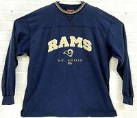 NFL St. Louis Rams Football Long Sleeve Shirt Embroidered Logo Men Size XL Blue