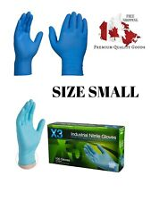 PREMIUM Industrial Nitrile Disposable Gloves 3 Mil Blue Powder-Free SMALL 100PC