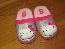 HELLO KITTY Lounge Bedroom Slippers Sanrio GLITTER Girls Large Shoes Sz 4 or 5 @