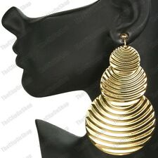 "BIG CLIP ON EARRINGS 4""long BOHO drop GOLD FASHION corrugated metal CLIPS"