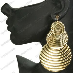 "BIG CLIP ON EARRINGS 4""long BOHO drop GOLD FASHION corrugated metal CLIPS"