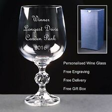 Personalised 230ml Crystal Wine Glass,Golf Gift Longest Drive Nearest Pin Trophy