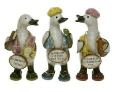 Complete Set of 3 Bathroom Rules Gossiping Duck Ornaments Gifts Shabby Chic