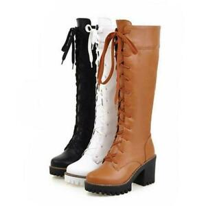 Women's  Lace Up Knee High Boots Platform Chunky High Heel Combat Boots