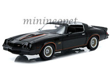 GREENLIGHT 12902 1978 78 CHEVROLET CAMARO Z/28 1/18 BLACK WITH ORANGE STRIPES