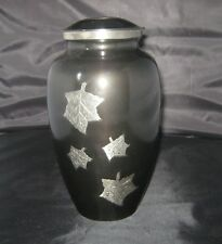 BNIB BLACK & SILVER Adult  Cremation Ashes Urn  Jar Full Size FALLING LEAVES