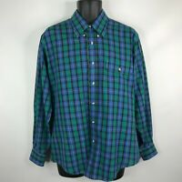 Vintage 80s Levis Colorgraphs Mens Blue Green Plaid Button Down Shirt Size L