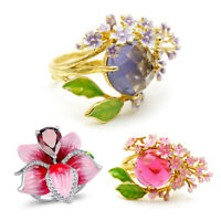 Gorgeous Flower Crystal Ring Women Wedding Bride Travel Commemorate Jewelry