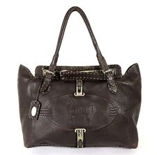 FENDI Brown Pebbled Leather GRAND BORGHESE SELLERIA Satchel Tote Bag