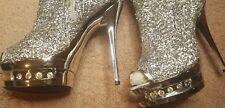 highest heel sequin silver open toe ankle boot sz 9 NWOB