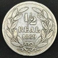 HONDURAS REPUBLIC 1869 A- 1/2 REAL- PARIS MINT, CU/NI, Great Condition- KM# 32