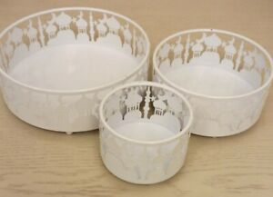 Set of 3 white Metal Eid Mubarak Ramadan  Cake / Treat Tins trays