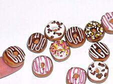 2pc Glass Doughnuts Bead food lot 10mm Lampwork little Christmas Donuts charm