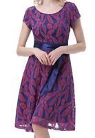 NEW~Belle Poque~Women MEDIUM Vintage Cap Sleeve Floral Lace Dress w/BELT