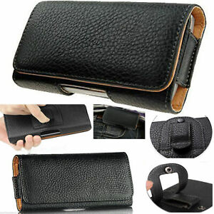 Horizontal Leather Case Cover Pouch Holster w/ Belt Clip for Various Phones Ip12