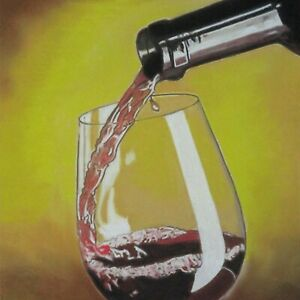 Still Life Artwork #319 Pastel Painting Glass of Wine Being Poured
