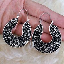 Vintage Women Boho Bohemian Antique Metal U Shape Hook Dangle Chandelier Earring