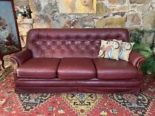 Vintage Chesterfield Leather 3 Seater Sofa Lounge Chair~Antiqued Brown