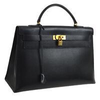 Authentic HERMES KELLY 40 Hand Bag Black Vachette Grainee Des Ardennes BA01783