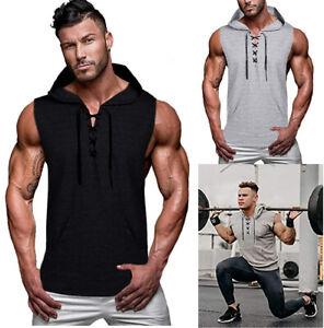 Man Sleeveless Hoodie Hooded Workout Gym Bodybuilding Training Tank Top Vest