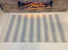 Natural CREAM BLUE GREY Striped Eco Friendly Cotton Reversible Washable Rug -30%