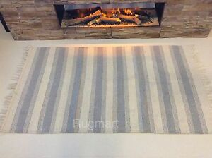 Natural CREAM BLUE GREY Striped Eco Friendly Recycled Cotton Rich Washable Rug