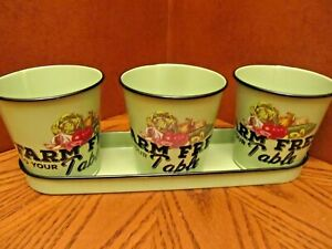Set 3 -Small Metal Garden Herb Plant Flower Pots  with Tray-Farm Fresh To  Table