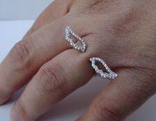 925 STERLING SILVER DESIGNERS ANGEL WINGS RING W/ .50 CT DIAMONDS /SZ 5,6,7,8,9