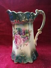 Vintage Ceramic Water Or Milk Jug With Floral Design