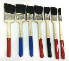 7 Vintage Unused Angled Paint Brushes Pure Bristle Wood Handles Acorn Niblik
