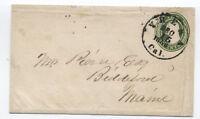 1856 U15 Nesbitt stamped envelope 10ct green Yreka CA to Maine [y2709]