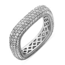 Sterling Silver Eternity Wedding Band Ring with CZ, Square Shape, Size 7-9