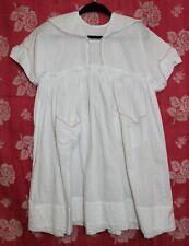 Antique Girls Embroidered White Cotton Summer Dress Edwardian Victorian
