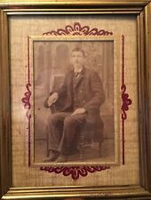 VTG FRAMED PHOTO YOUNG MAN HAND PAINTED MATTING NAME & SOCIAL SECURITY CARD